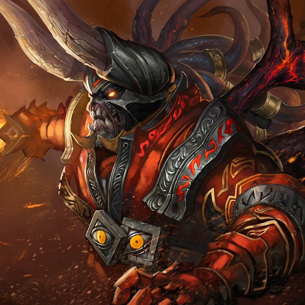 Download Wallpaper Flame Sword Armor The Demon Dota Defense
