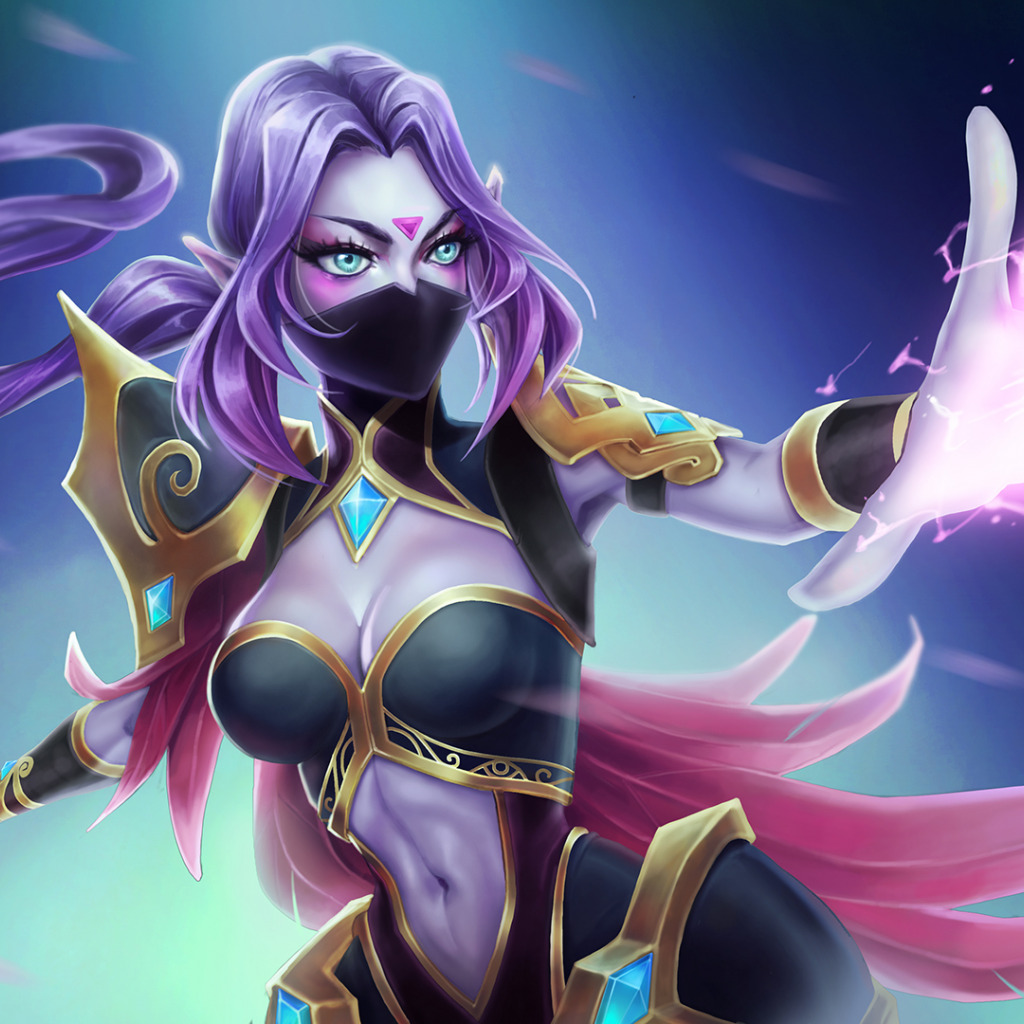 wallpaper magic art hero dota lana girl art shield