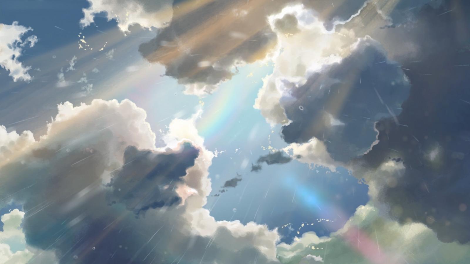 Download Wallpaper The Sun Sky Clouds Rain Anime