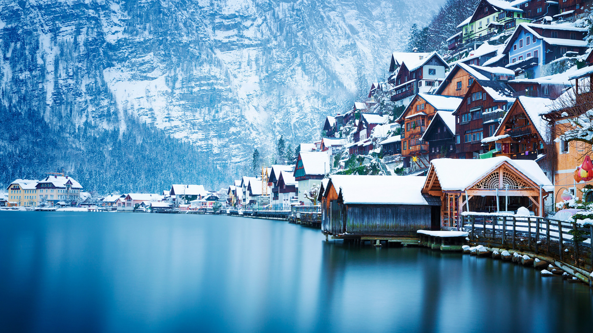 Download Wallpaper Winter Snow Landscape Mountains Lake Home Austria Hallstatt Section City In Resolution 1920x1080