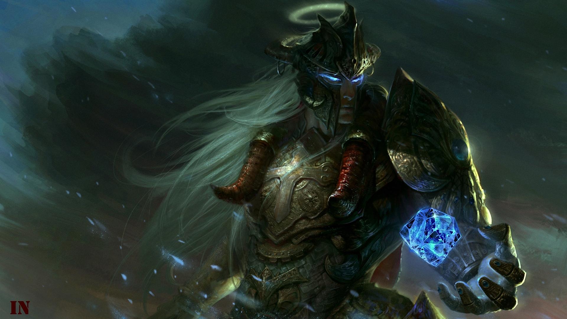 Download wallpaper crystal, magic, art, helmet, guy, armor ...
