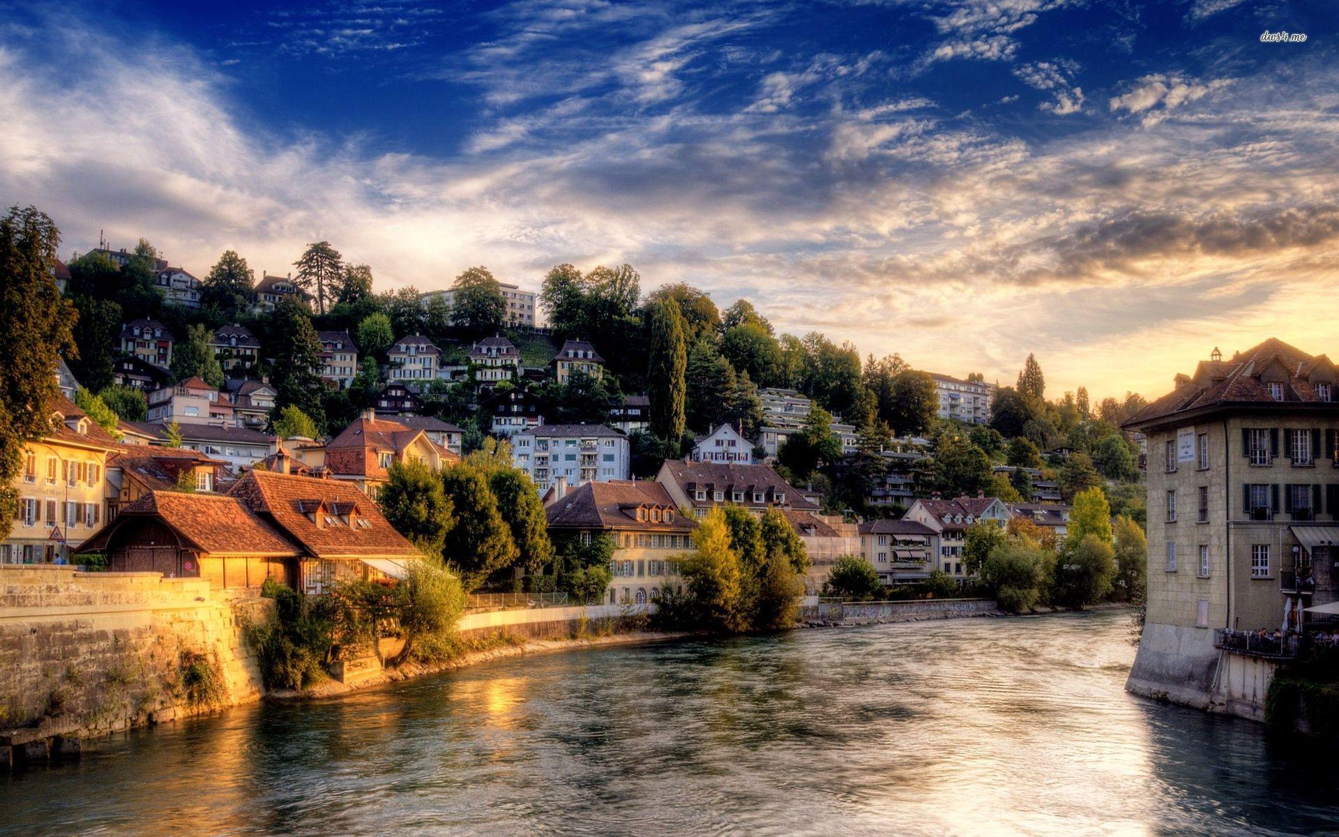Замок швейцария вечер  № 2569338 загрузить