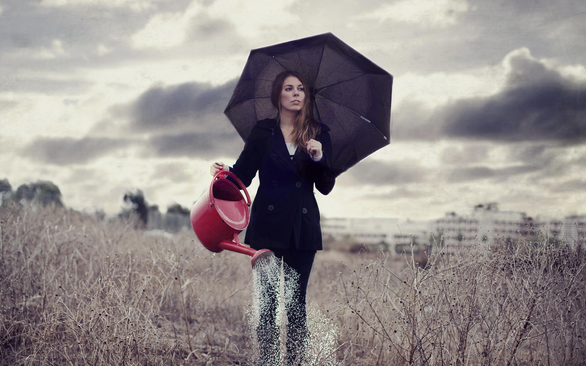 девушка зонт дождь природа  № 3582385 без смс