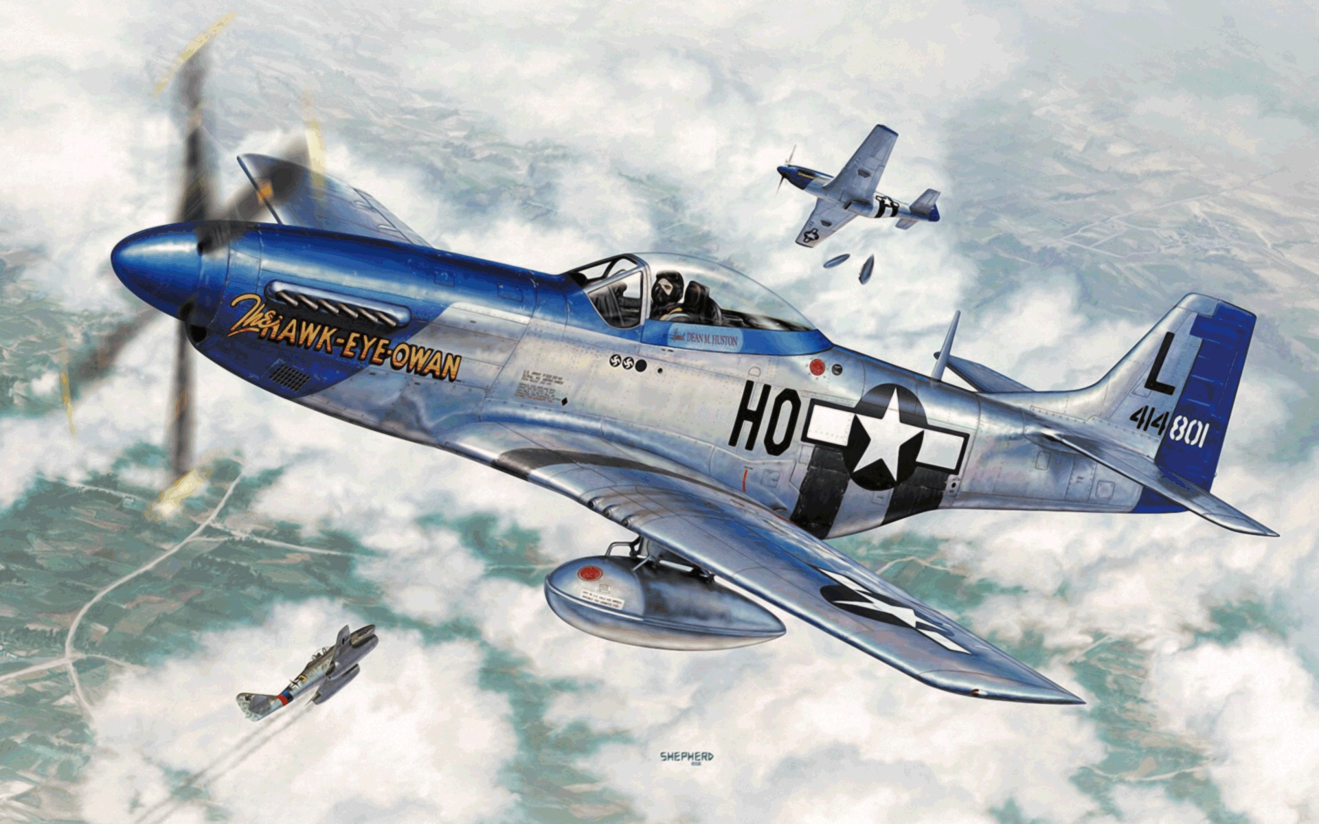 P51 Mustang oil painting trailer