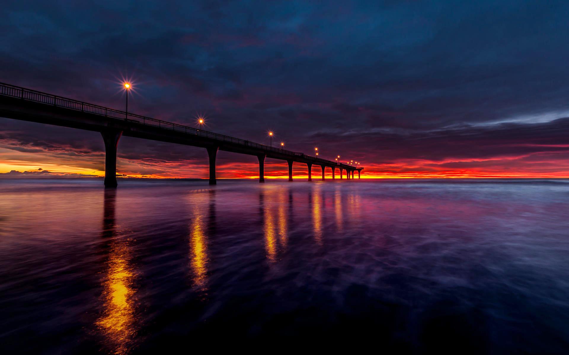 мост фонари море небо  № 3388141 загрузить