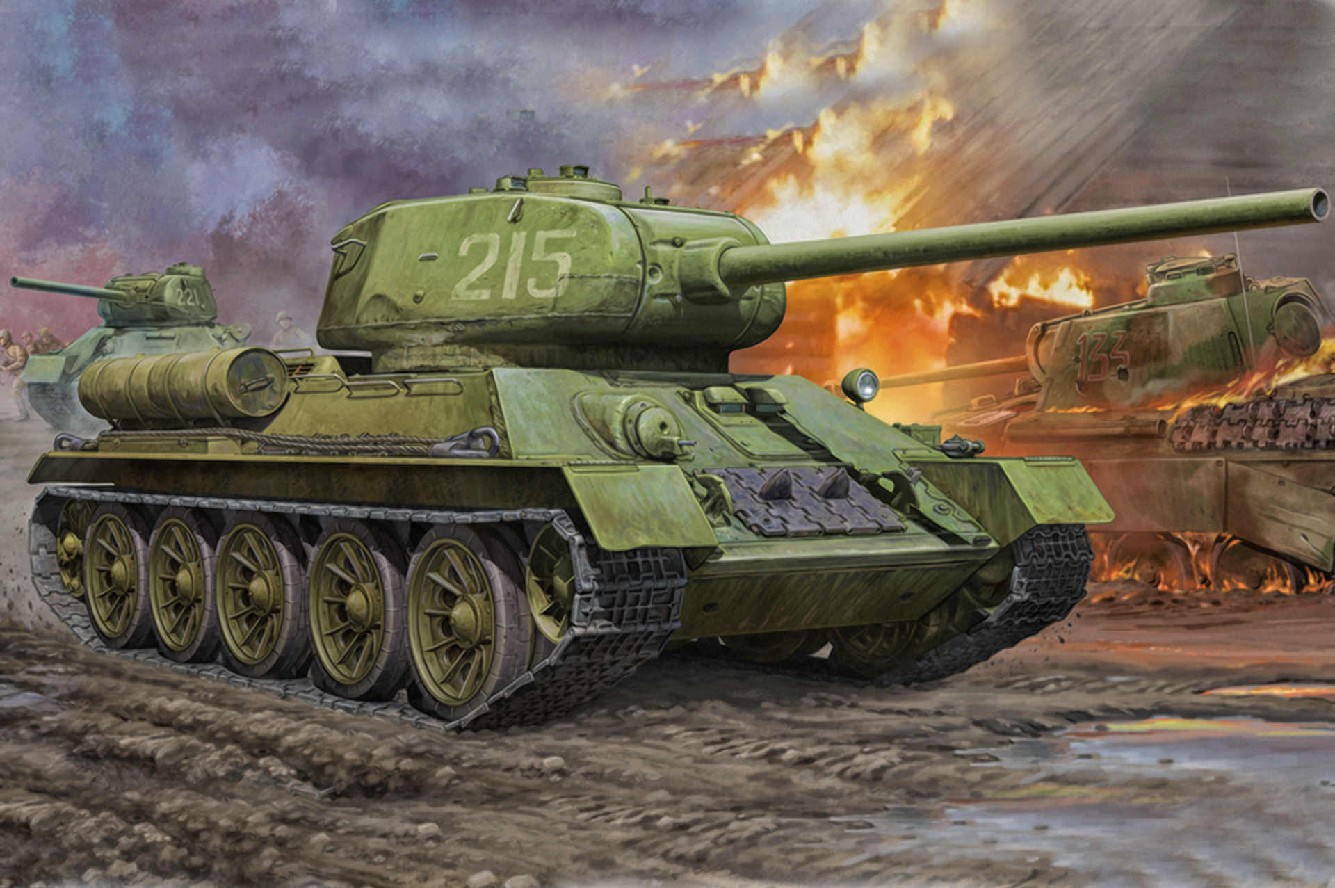 Юбилеем, советские танки открытки