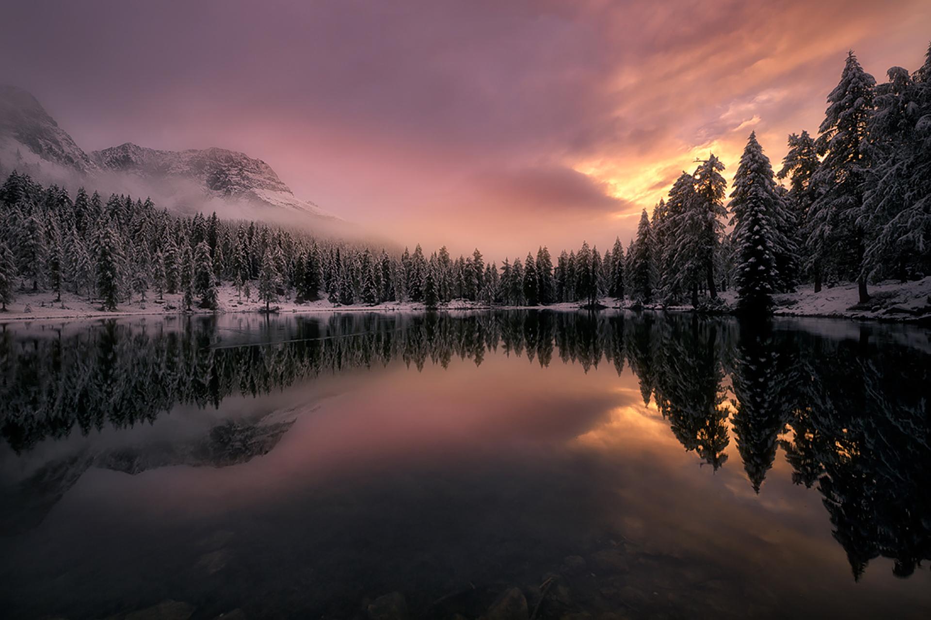 горы отражение лес туман  № 2832577 бесплатно