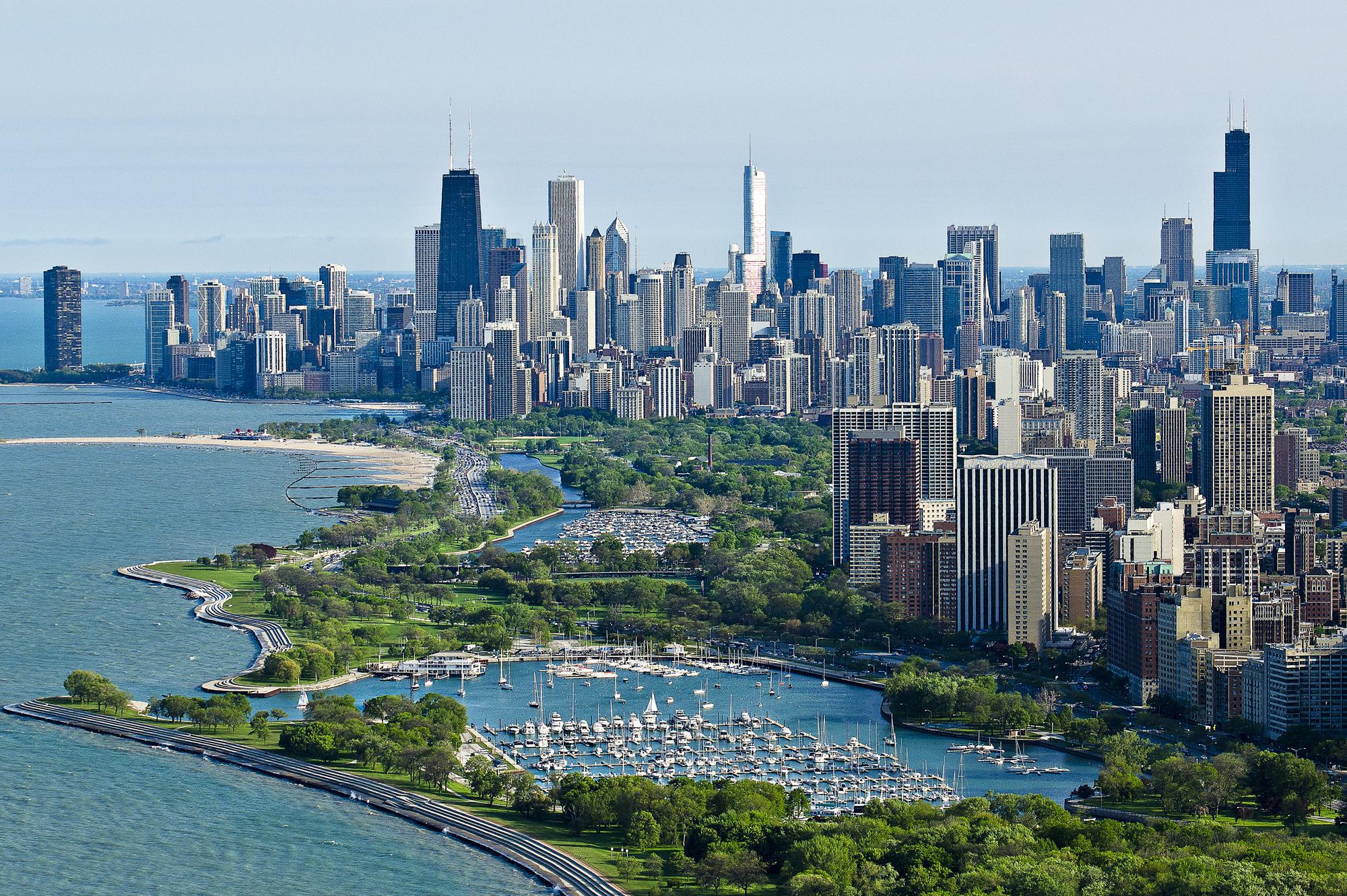 Ночной порт в Чикаго  № 3504518  скачать