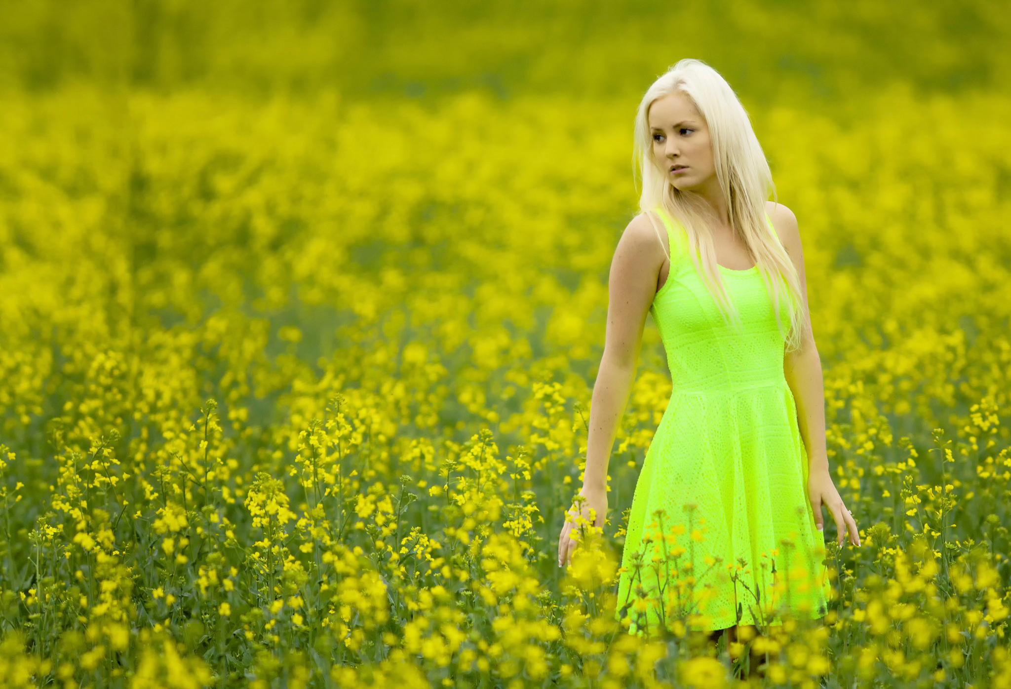 девушка природа белое платье цветы желтые  № 3832553 без смс