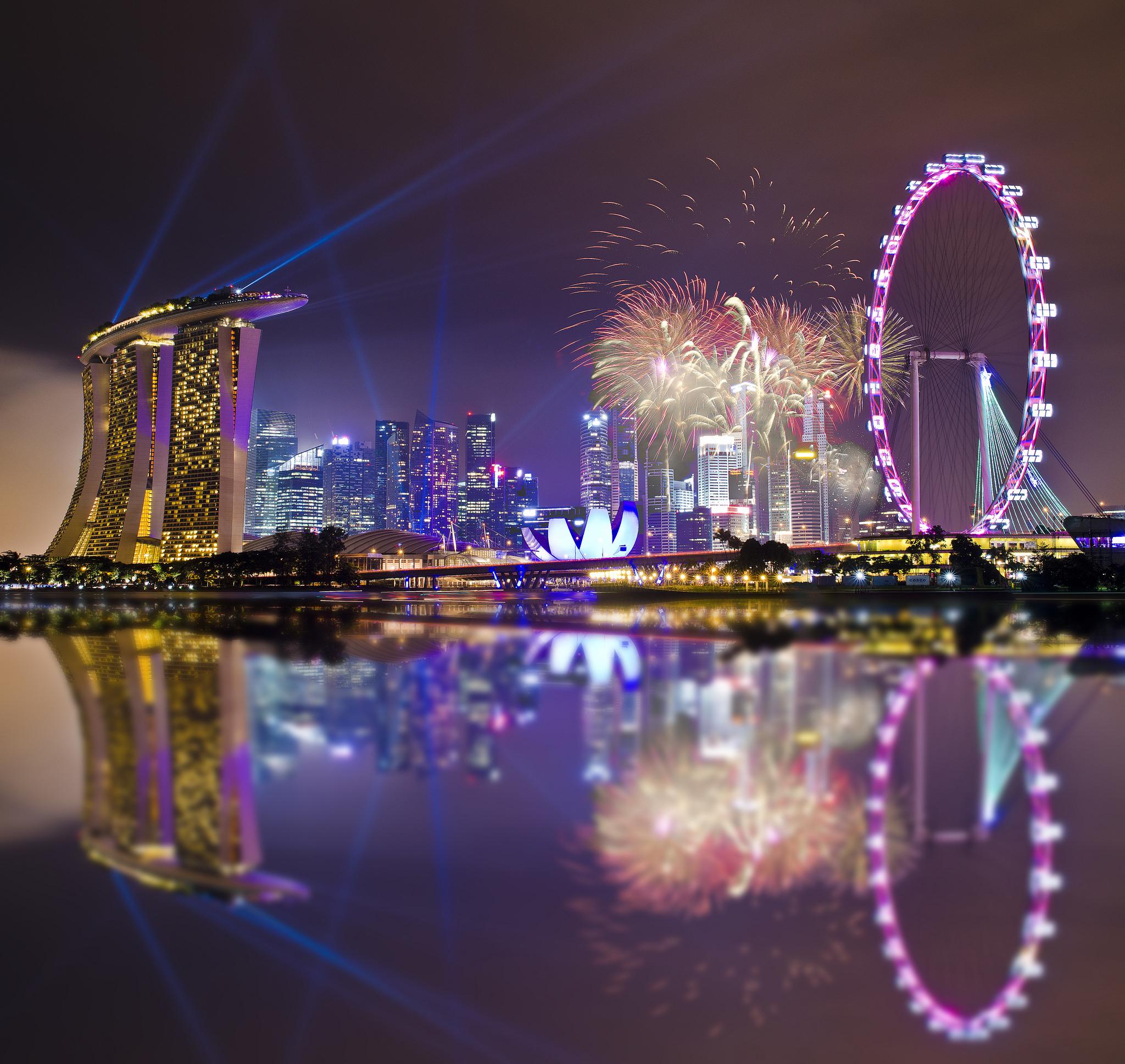 страны архитектура Сингапур ночь  № 1475994 бесплатно