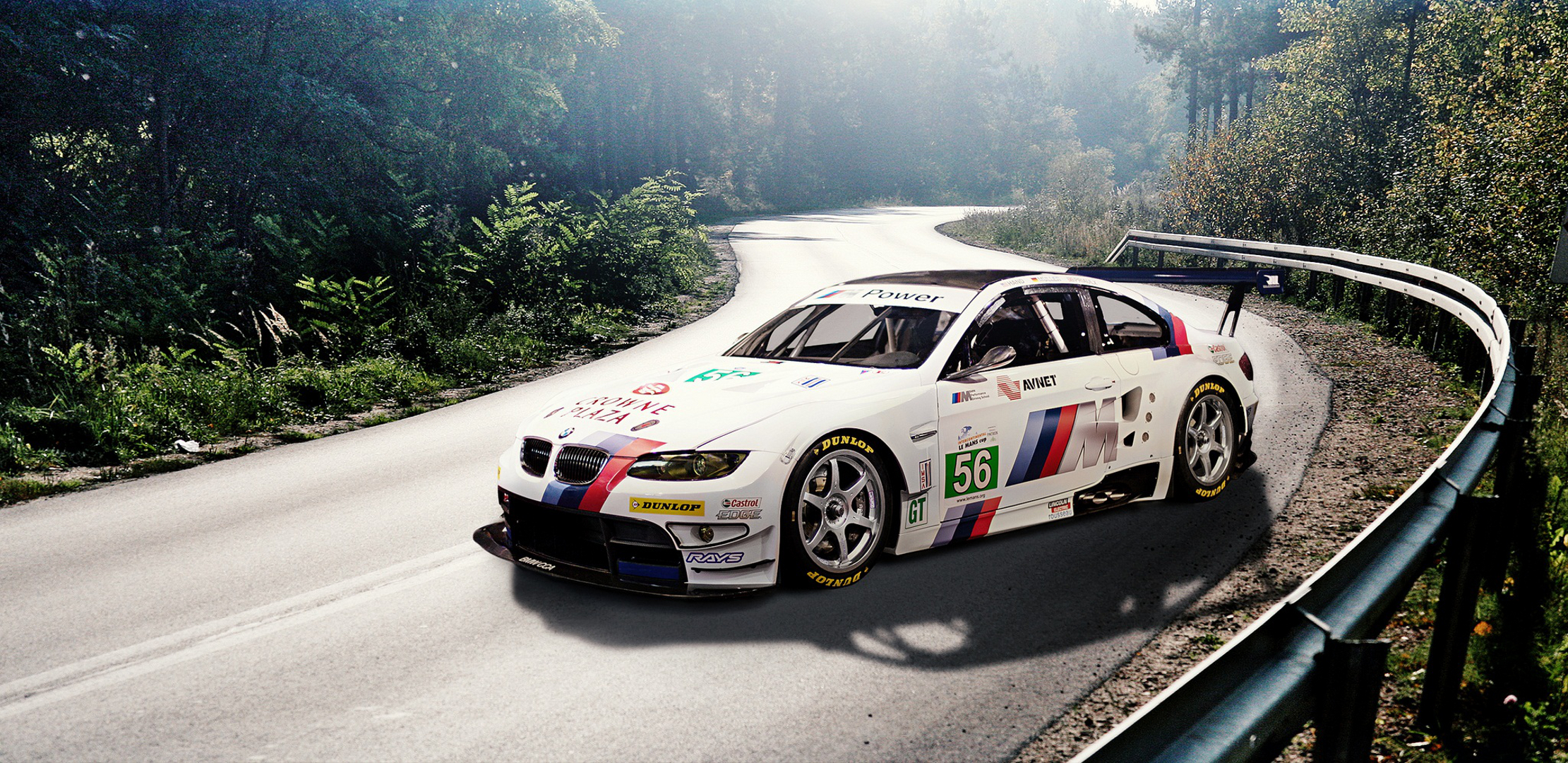 Car sticker design download - Download Wallpaper Road Race Car White E92 Bmw White Stickers Decal Labels Bmw Forest Section Bmw Resolution 2221x1080
