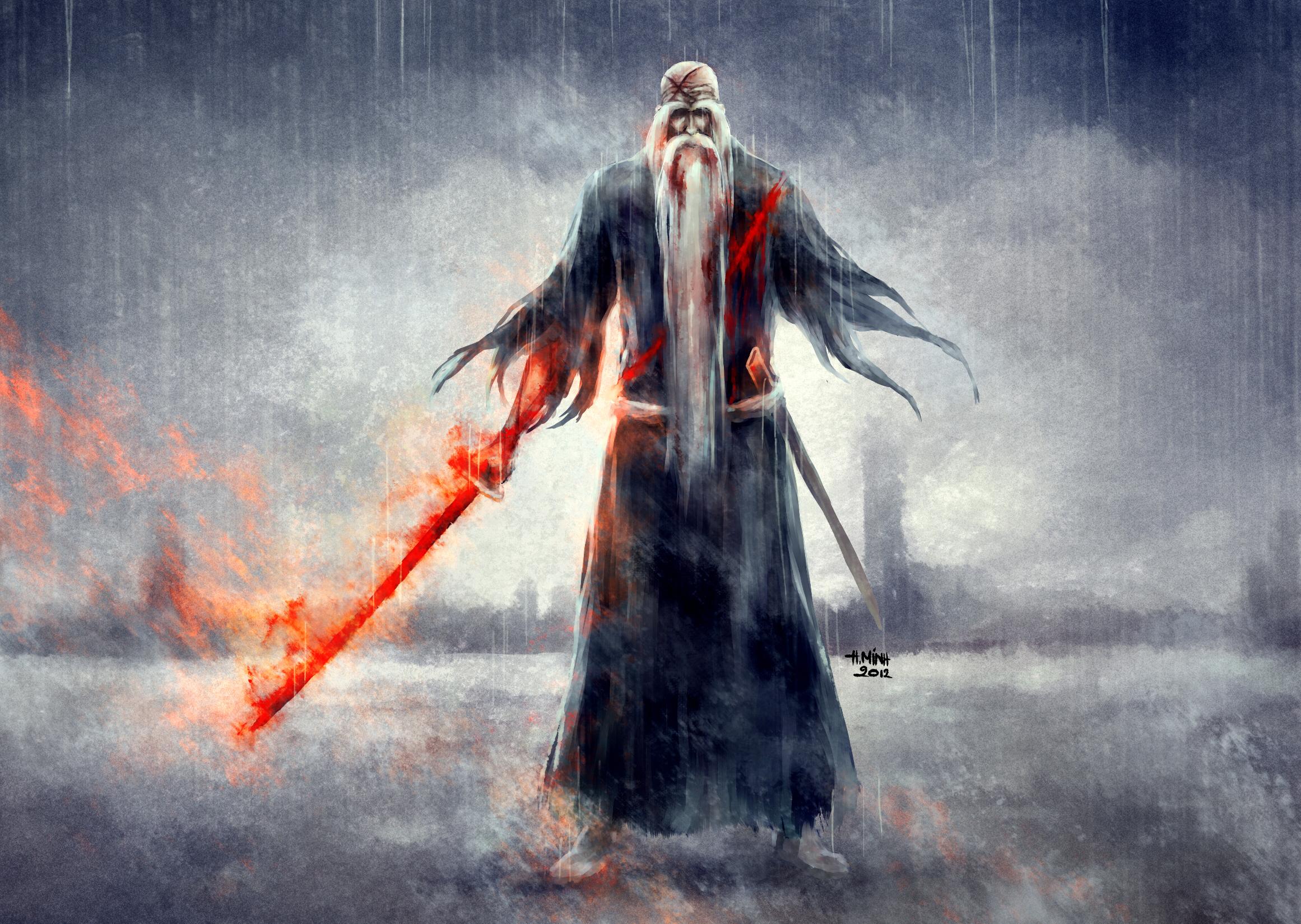 Мжчина с окровавленным мечем в огне  № 1840933  скачать