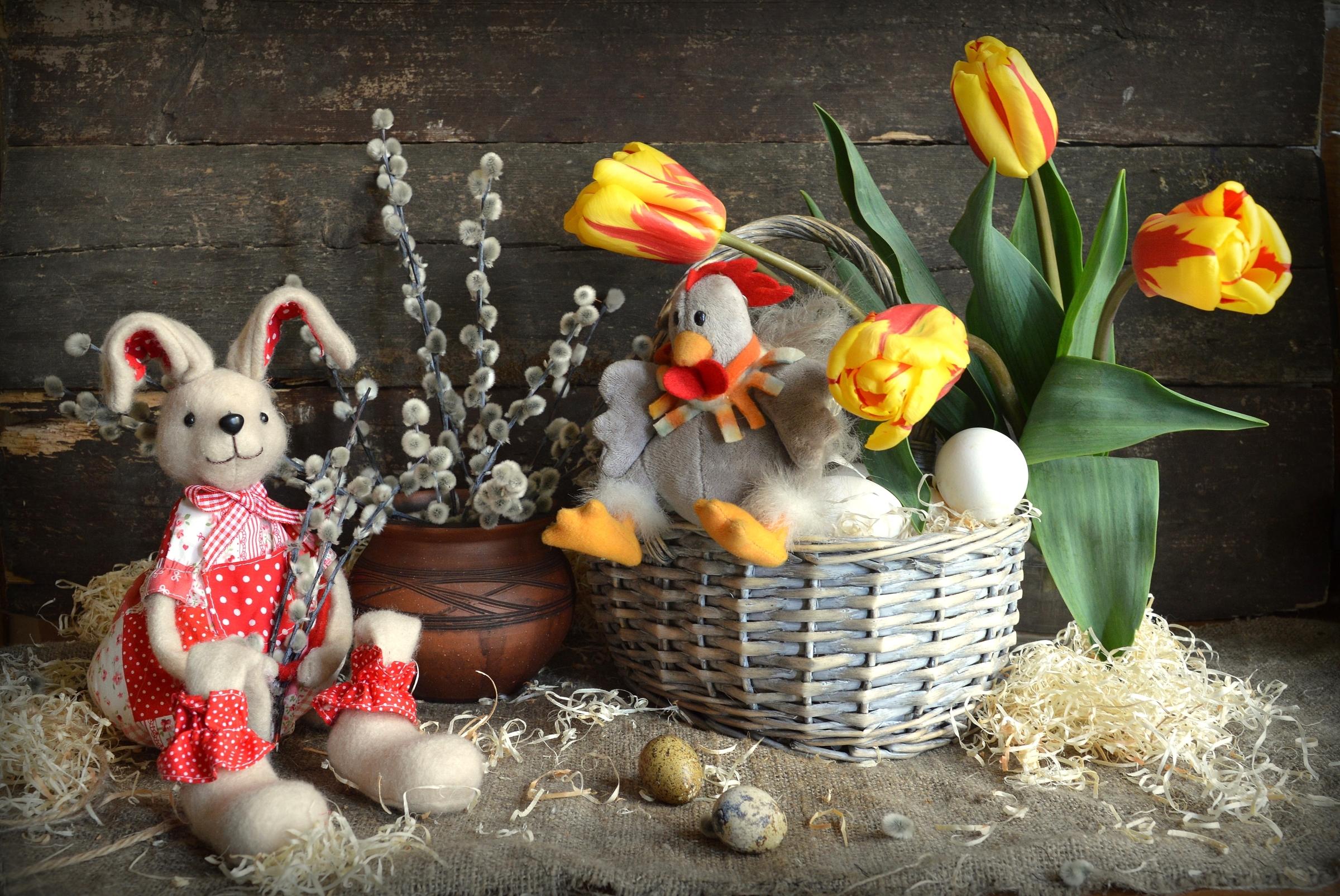 кролик с тюльпанами  № 1144675 без смс