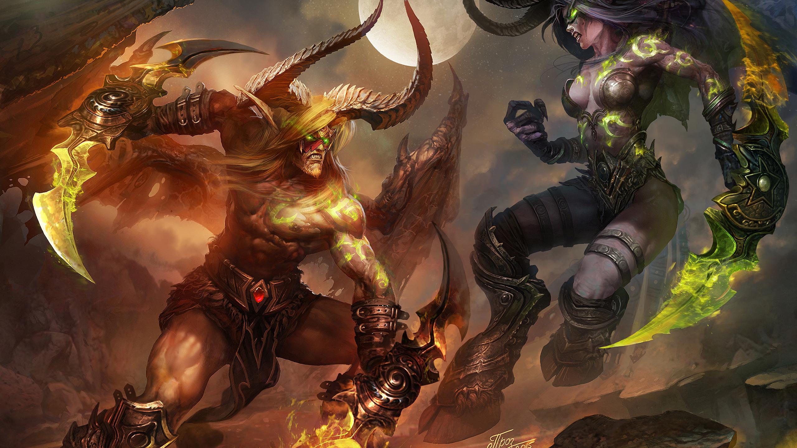 Download Wallpaper Night Elf Battle The Demon Fight Warcraft
