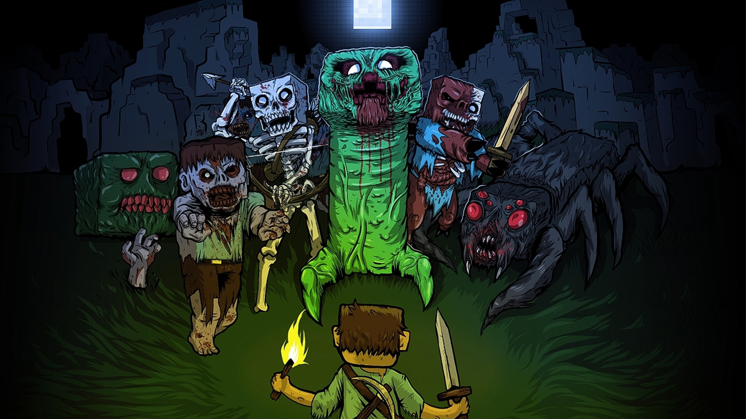 Download Wallpaper Zombies Zombie Creeper Minecraft