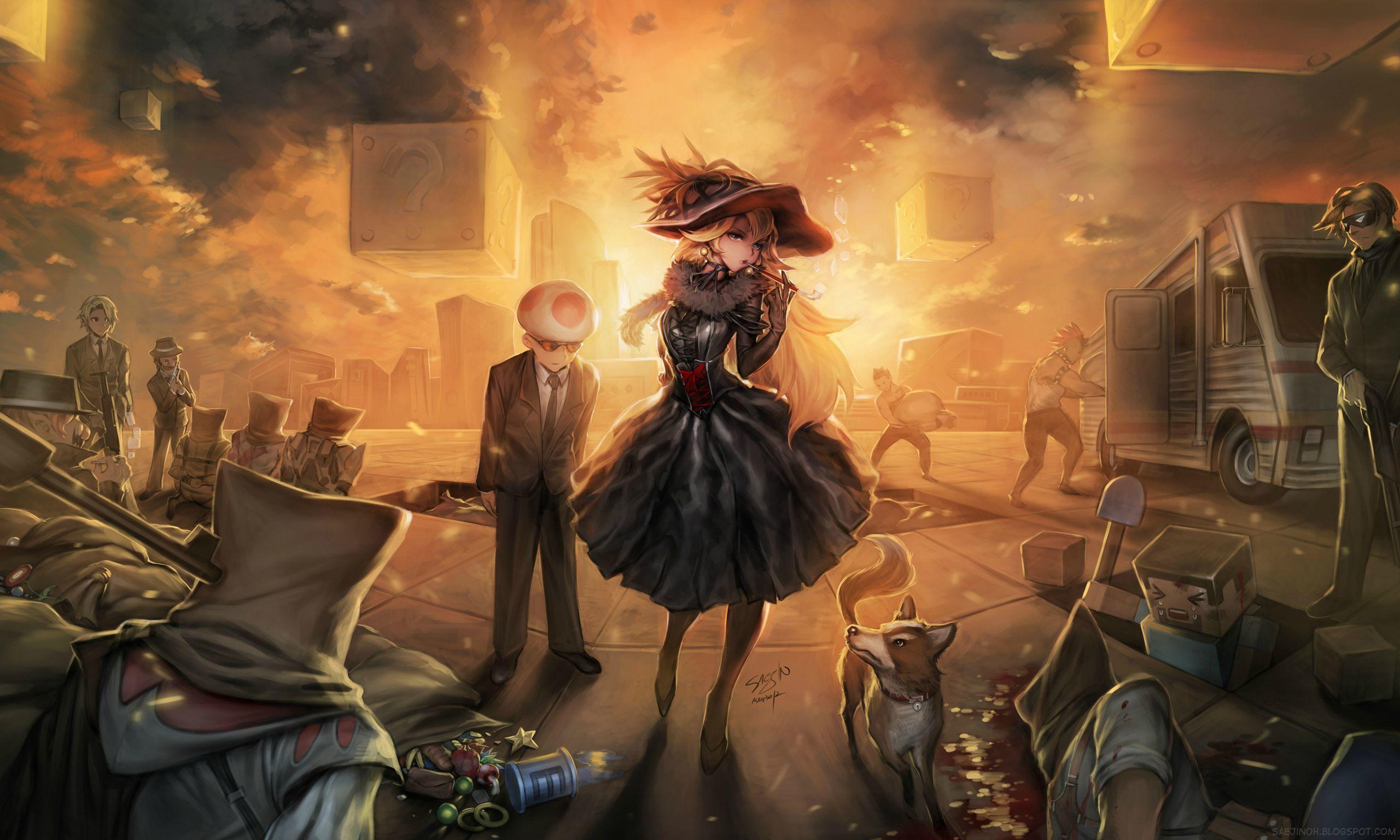 Download Wallpaper Girl Sunset Hat Art Cube Kratos