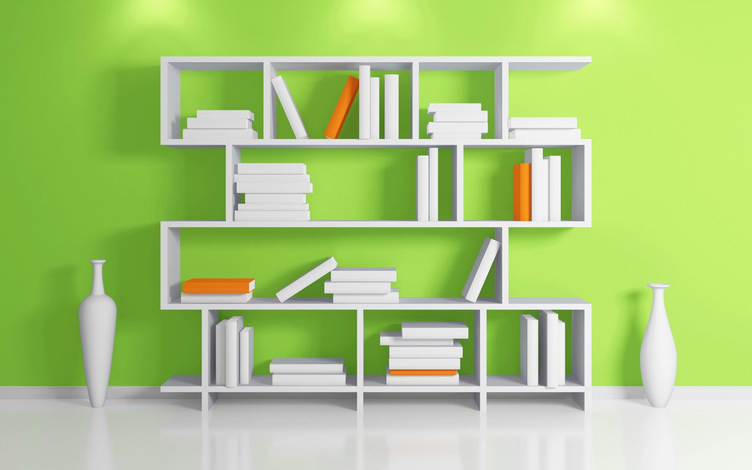 Обои для рабочего стола полки с книгами