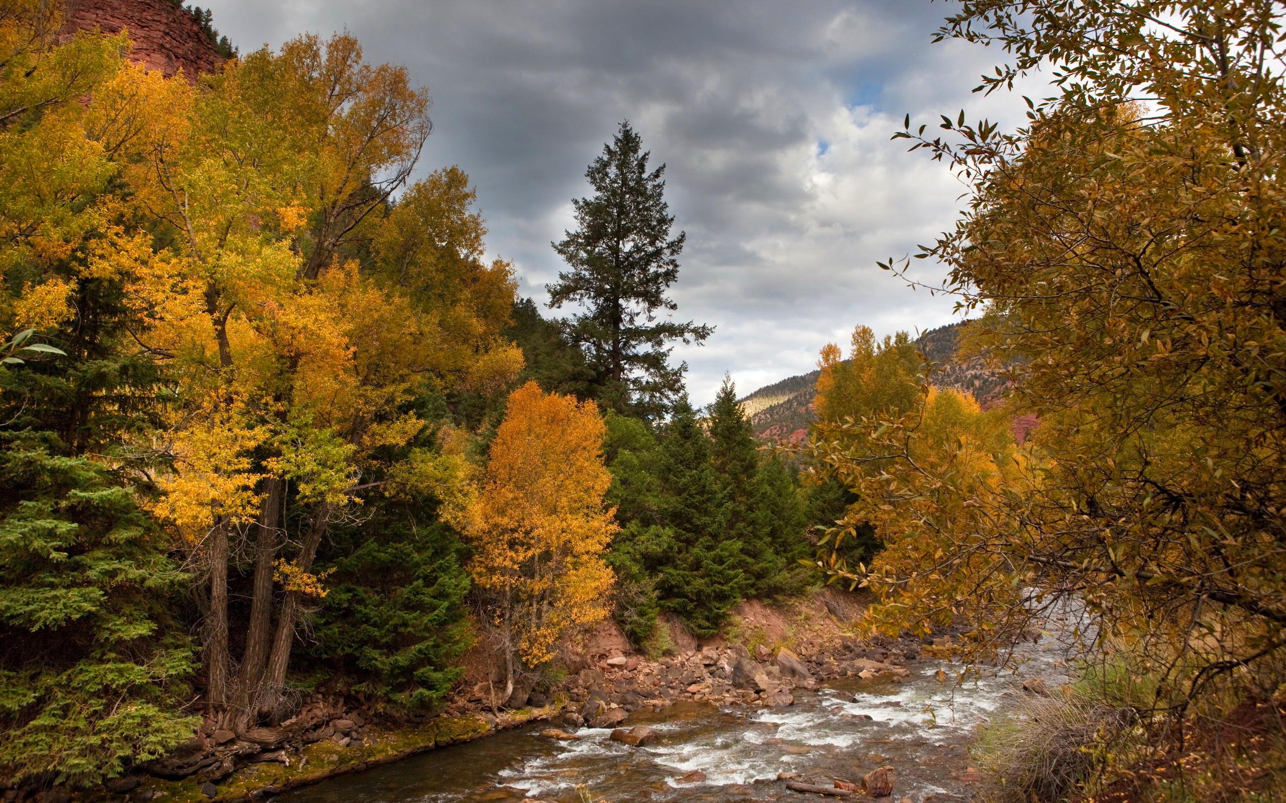 природа горы облака деревья река nature mountains clouds trees river  № 1000522 бесплатно