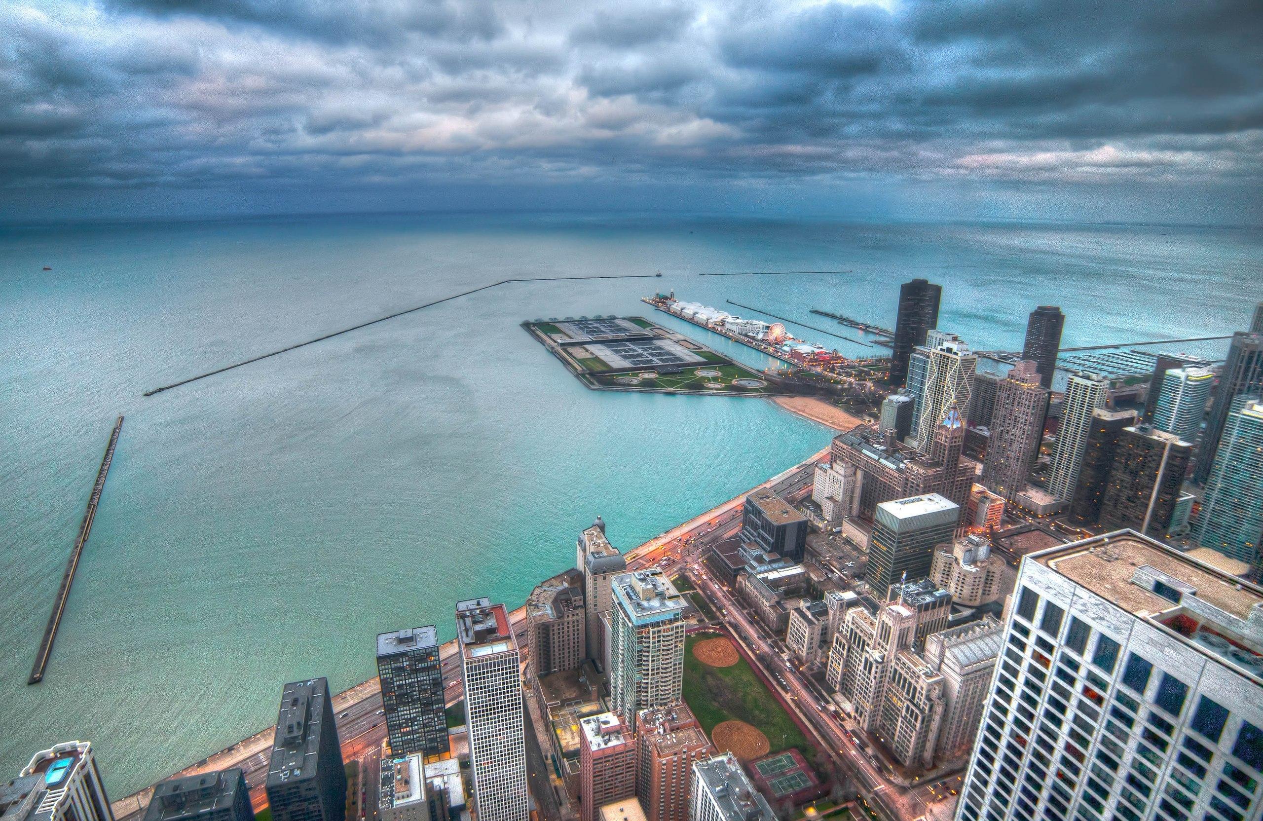 Ночной порт в Чикаго  № 3504426 загрузить