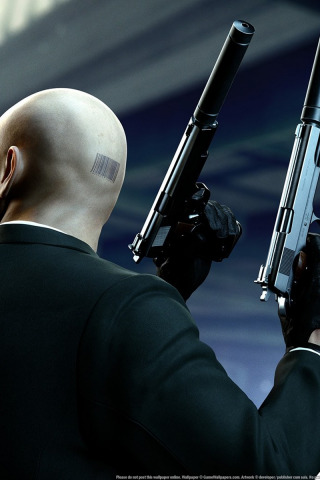 Download Wallpaper Weapons Guns Barcode Bald Gloves Jacket Agent 47 Silver Baller Hitman Absolution Mufflers Forty Seventh Assassin The Back Of The Head Section Games In Resolution 320x480