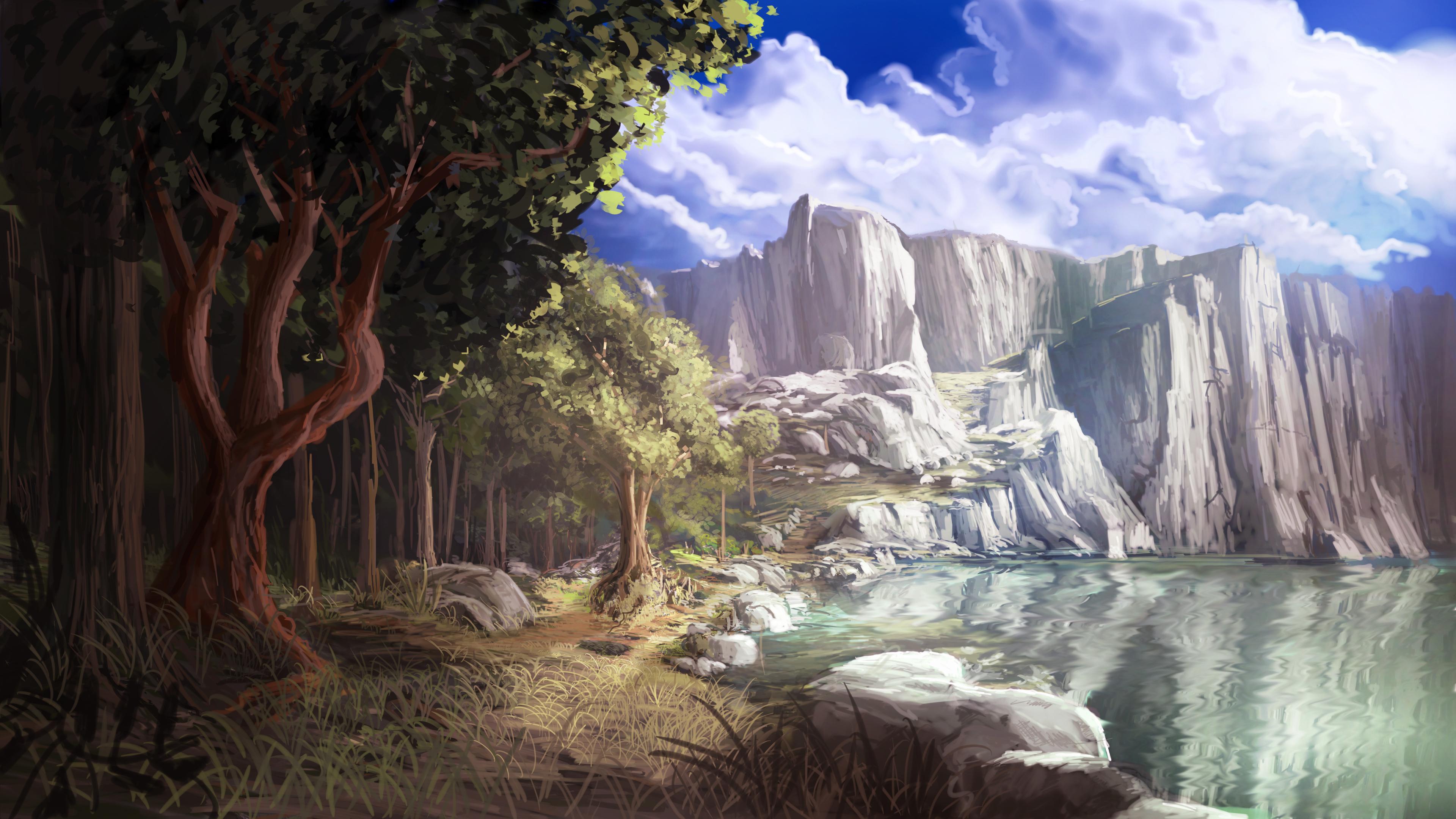 природа река горы скалы деревья облака  № 3796707 без смс
