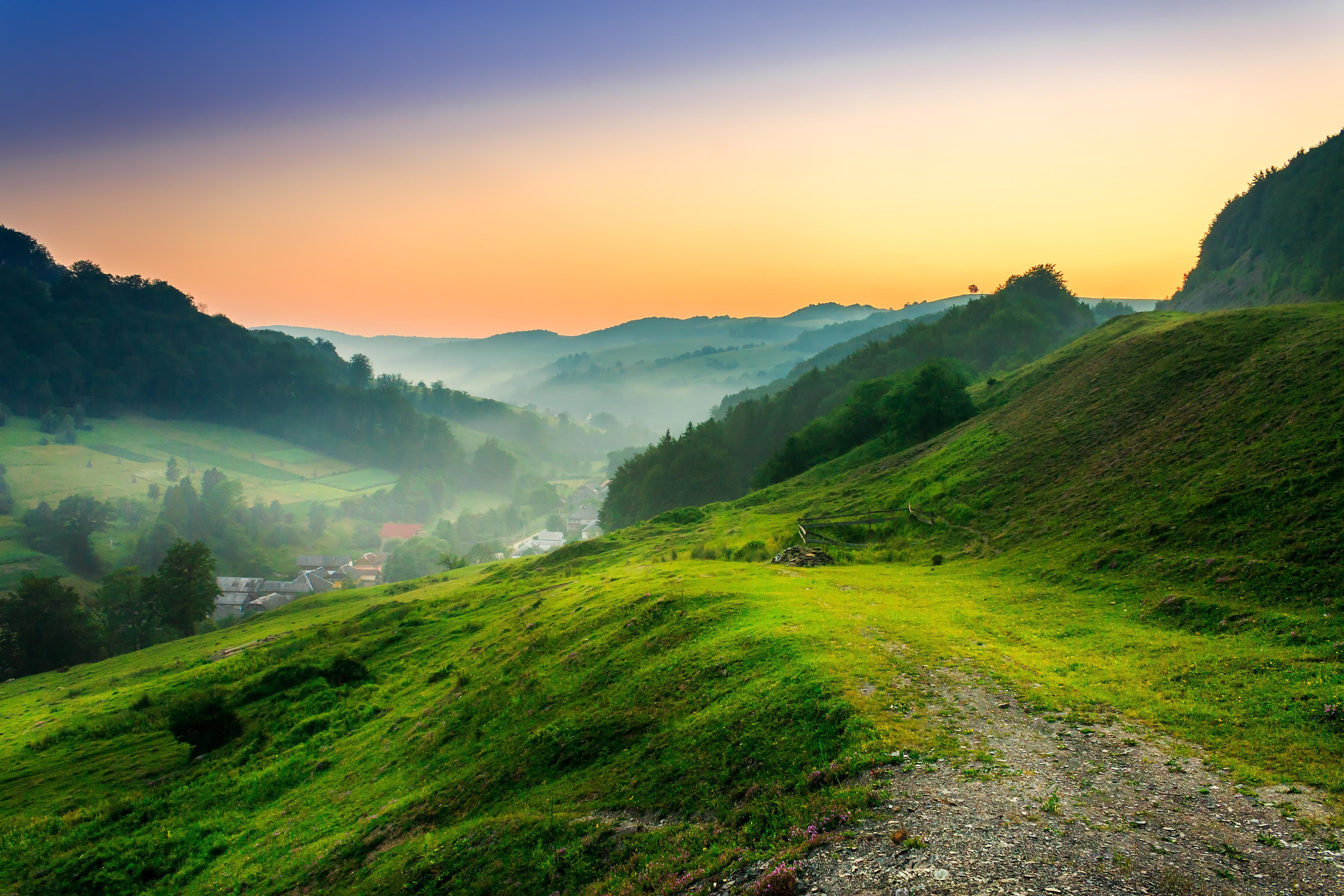 Солнце, рассвет, горы, холмы, дорога  № 3302181 без смс