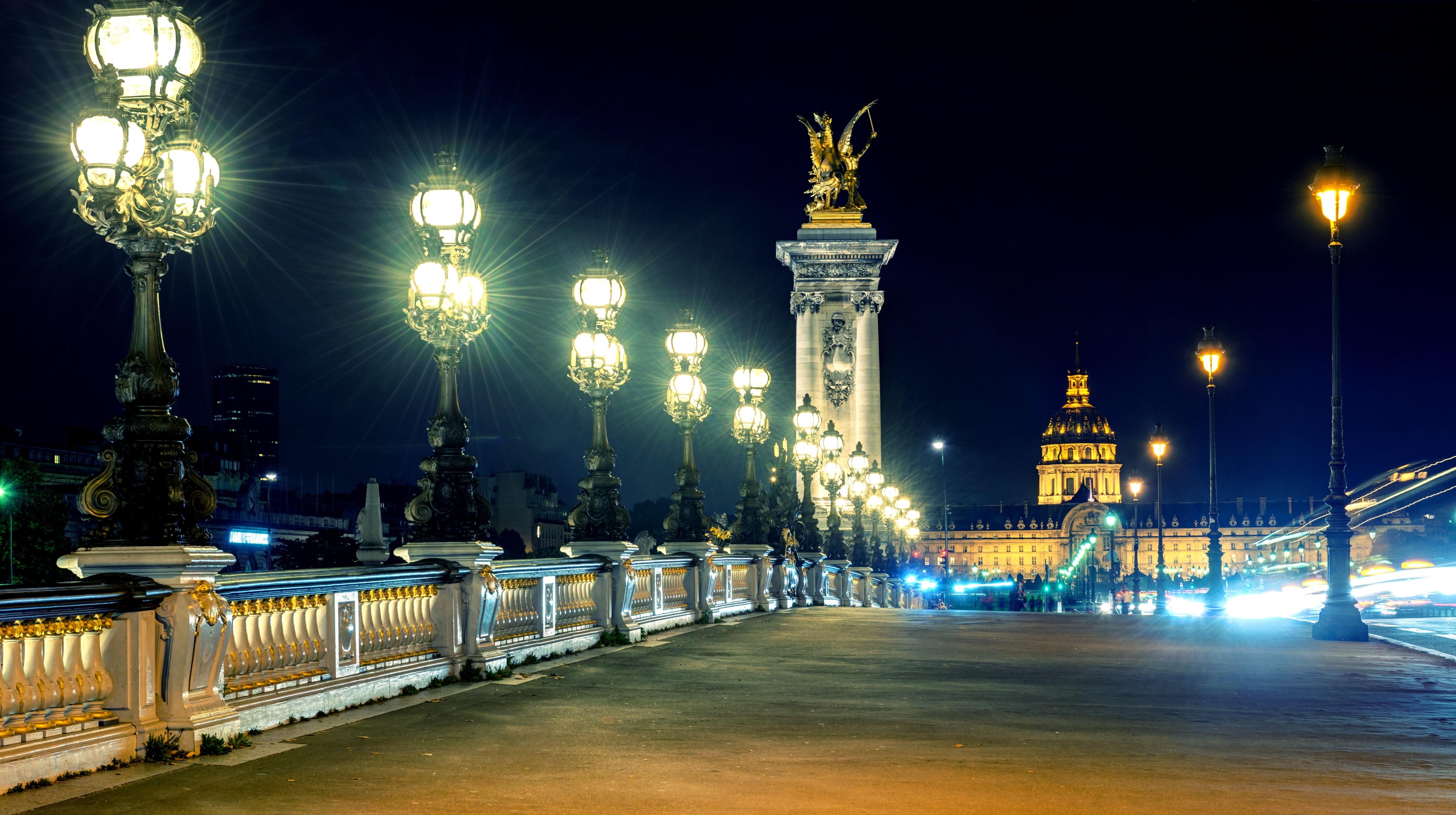 Франция дороги ночь фонари  № 2229285 без смс