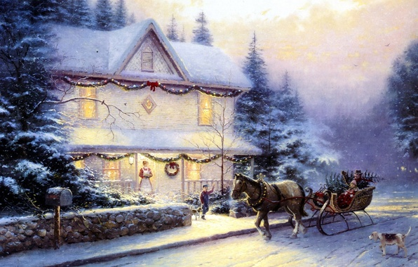 Picture road, people, horse, the fence, dog, picture, ate, wagon, tree, sleigh, painting, Christmas, cottage, stone, …