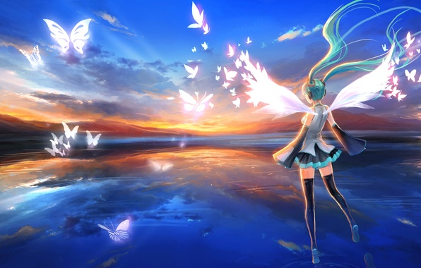 Picture the sky, girl, butterfly, sunset, wings, stockings, headphones, dress, hatsune miku, Vocaloid, blue hair