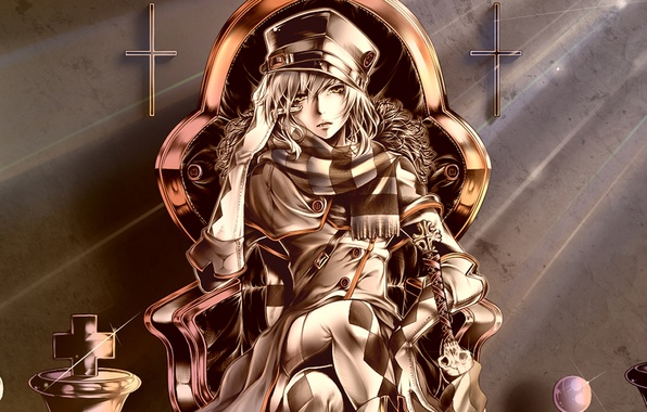 Picture crosses, skull, hat, scarf, chess, gloves, guy, art, bouno satoshi