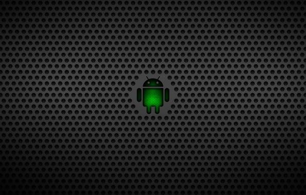 Photo wallpaper robot, logo, logo, Android, android, dark, google