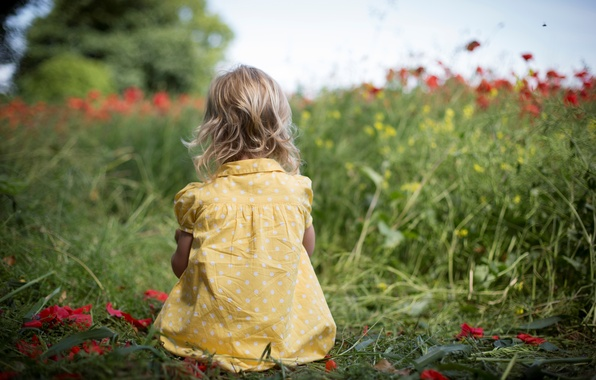 Picture greens, field, grass, flowers, nature, children, background, widescreen, Wallpaper, mood, child, polka dot, dress, girl, ...
