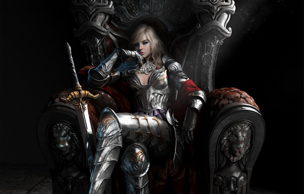 Picture girl, reverie, sword, armor, art, the throne, Queen