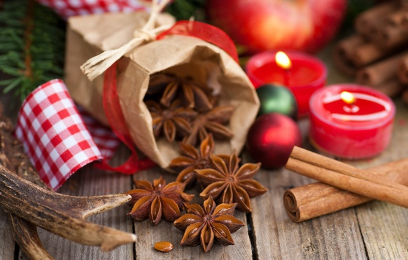 Picture balls, sticks, candles, cinnamon, holidays, spices, Christmas, pouch, star anise, Anis