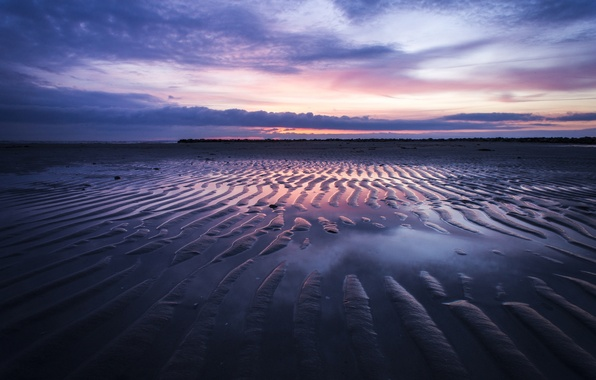 Picture sea, beach, sunset, the evening, tide, dunes, twilight