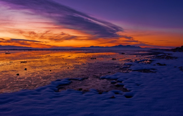 Picture winter, the sky, snow, mountains, lake, dawn