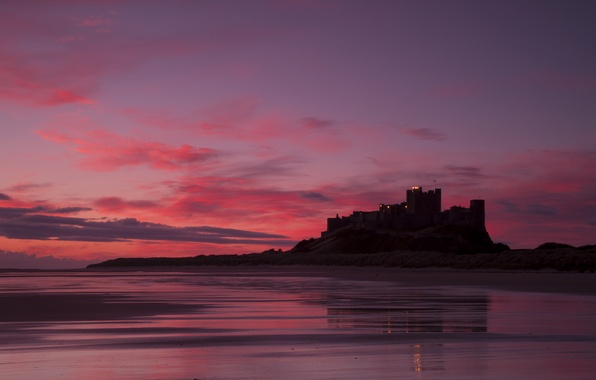 Picture sea, the sky, clouds, landscape, sunset, castle, shore, England, the evening, UK, raspberry, England, Great …