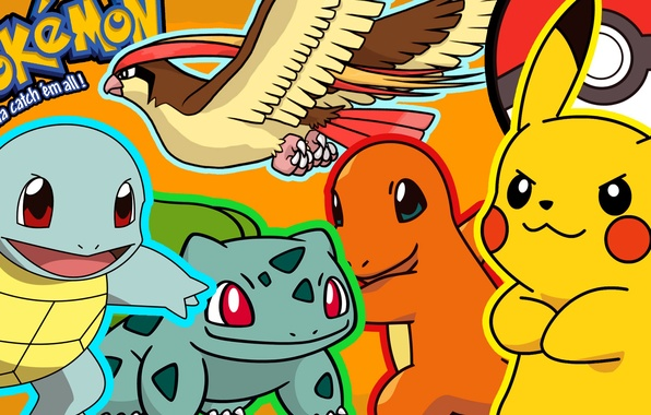 Picture Pikachu, pokemon, pokemon, Pikachu, bulbasaur, squirtle, squirtle, charmander, charmander, bulbasaur