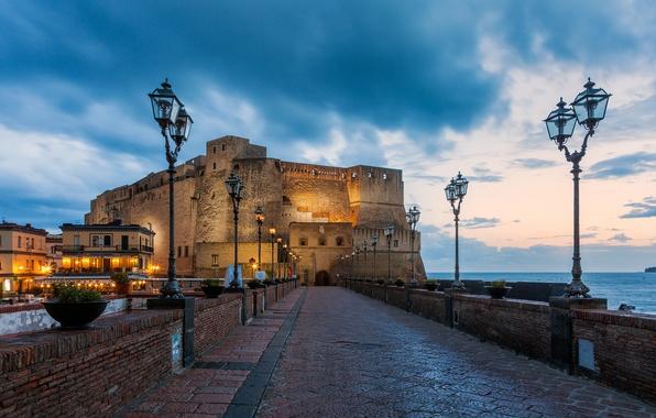 Picture sea, bridge, the city, lights, castle, the evening, lights, Italy, fortress, Italy, Italia, Napoli, Naples, …
