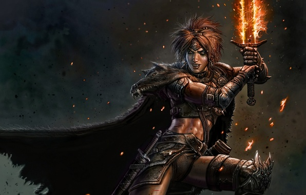 Picture fire, magic, woman, sword, warrior, fur, cloak, barbarian