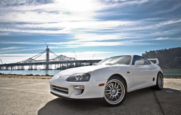 Picture white, background, tuning, Toyota, car, drives, two-door sports car