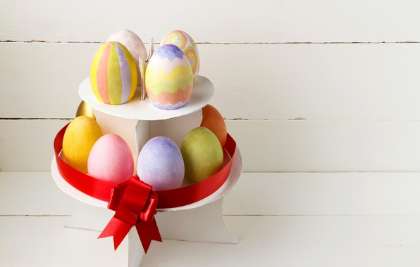 Photo wallpaper easter holidays, bow, bow, colorful, eggs, eggs, Easter
