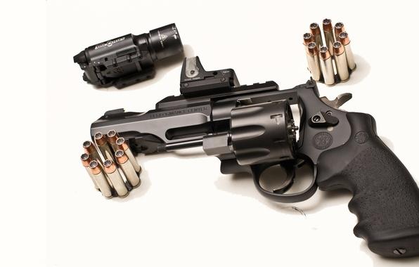 Picture gun, optics, white background, cartridges, revolver, sight, drum, Smith & Wesson, TRR8, Model 327