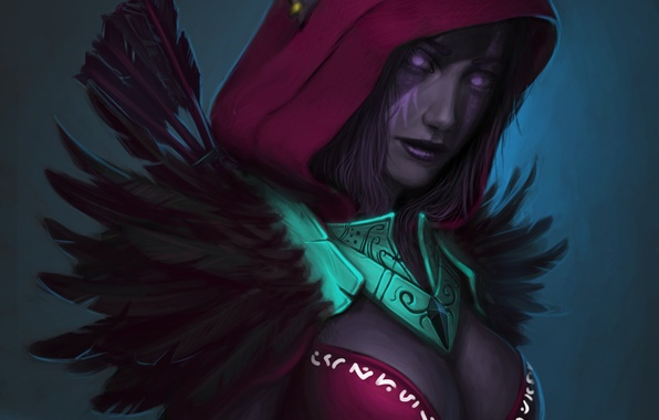 Picture feathers, art, hood, elf, Night Elf, wow, world of warcraft