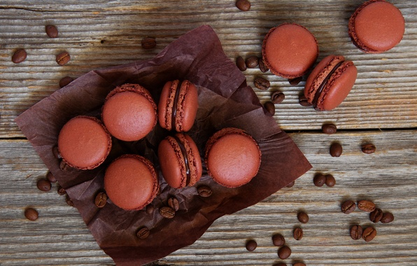 Picture the sweetness, cake, coffee beans, macaroon
