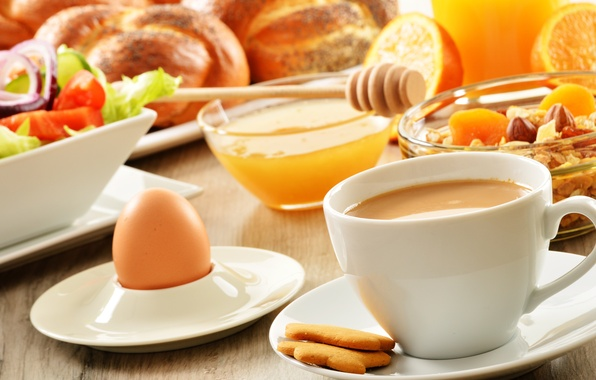 Picture egg, coffee, food, Breakfast, cookies, honey, Cup, fruit, cakes, salad, buns, muesli