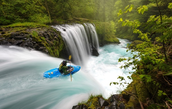 Picture river, sport, boat, waterfall