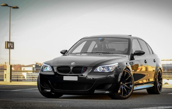 Picture the sky, black, bmw, BMW, Parking, sedan, black, e60