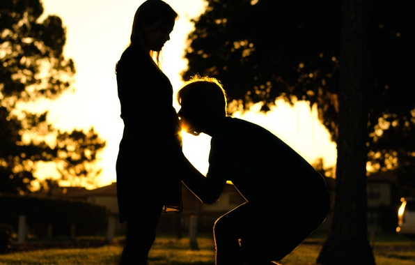 Picture happiness, pair, silhouettes, lovers