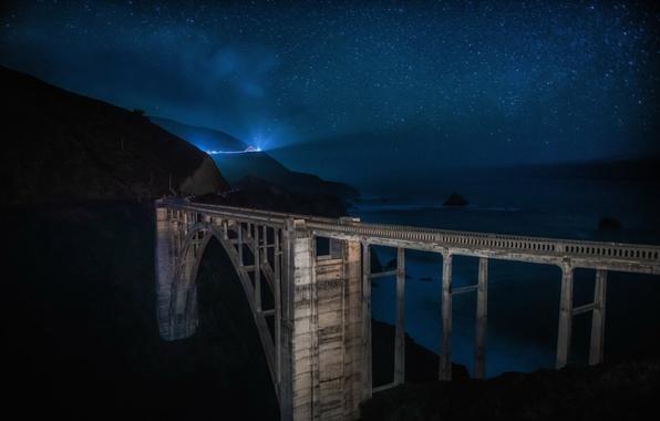 Picture california, landscape, longexposure, centralcoast, bixbybridge